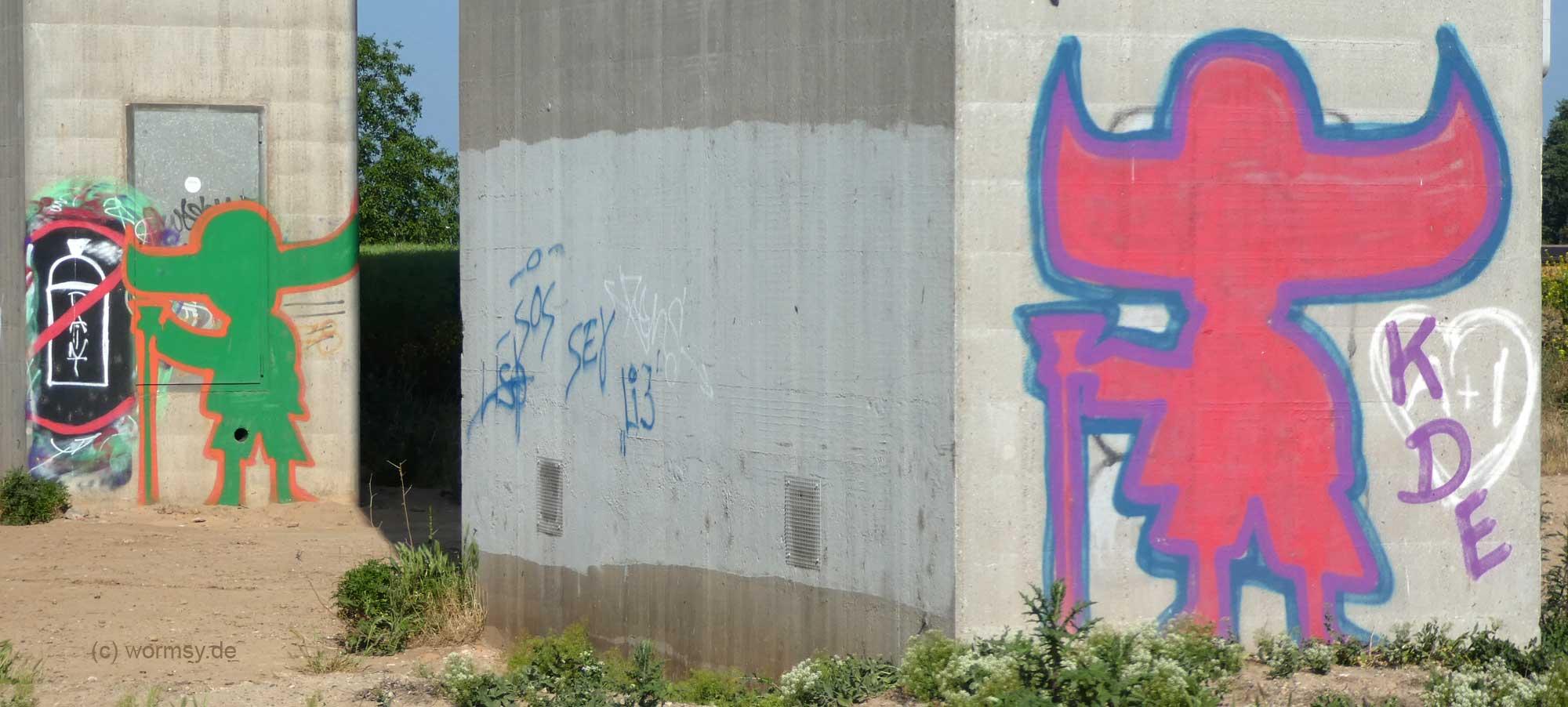 Graffiti unter der Talbrücke Worms-Pfeddersheim