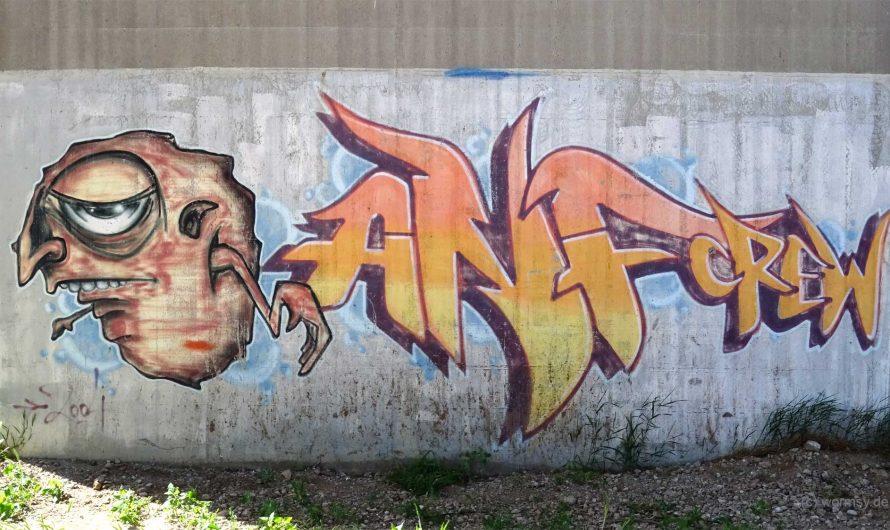 Graffiti unter der Talbrücke Worms-Pfeddersheim (Süd)