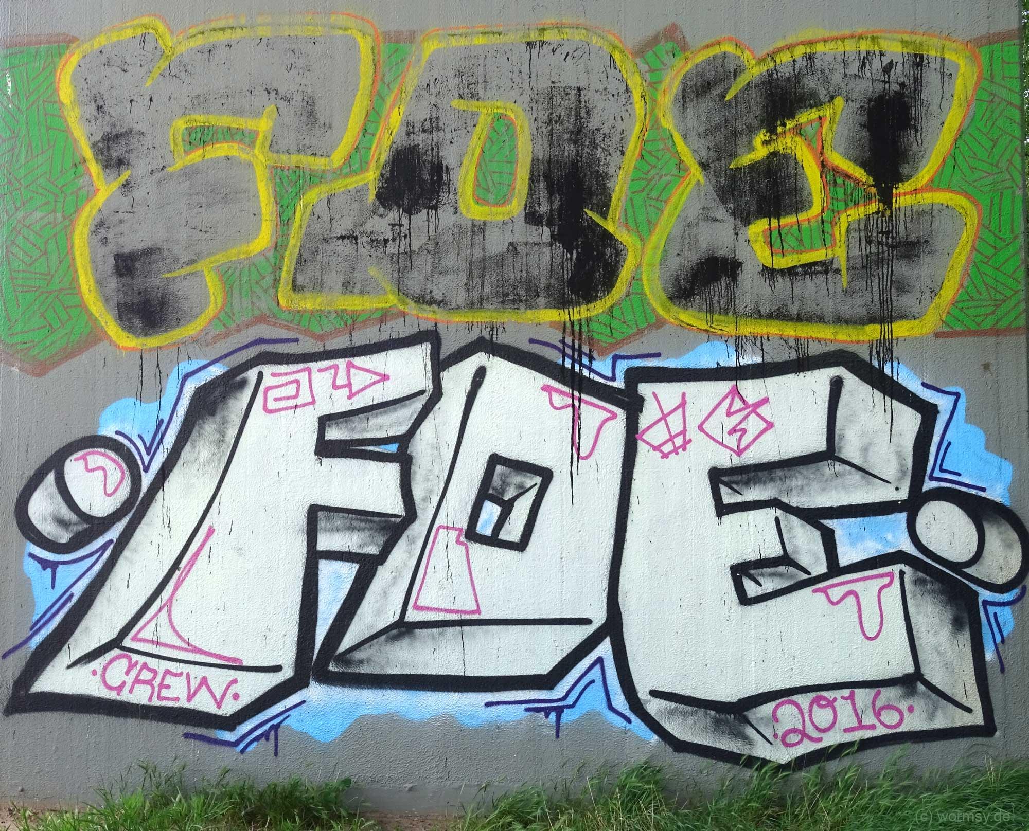 Graffiti unter der Talbrücke Worms-Pfeddersheim - FOE