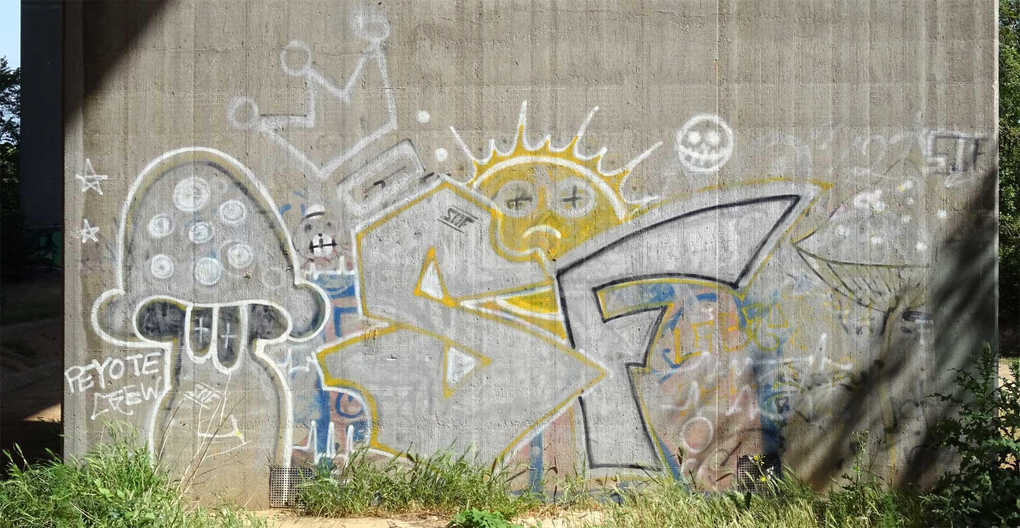 Graffiti unter der Talbrücke Pfeddersheim PEYOTE CREW