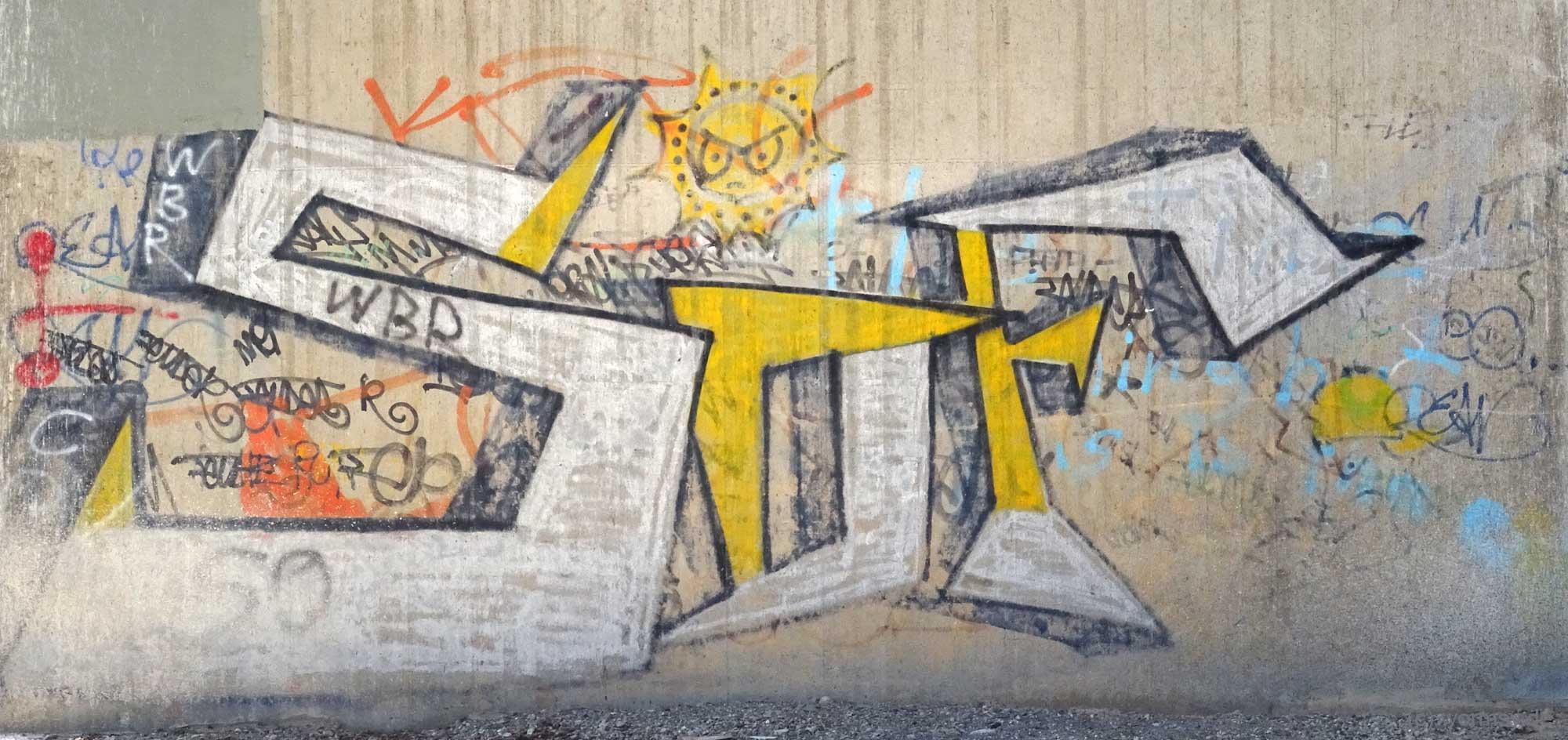 Graffiti unter der Talbrücke Pfeddersheim - SOF