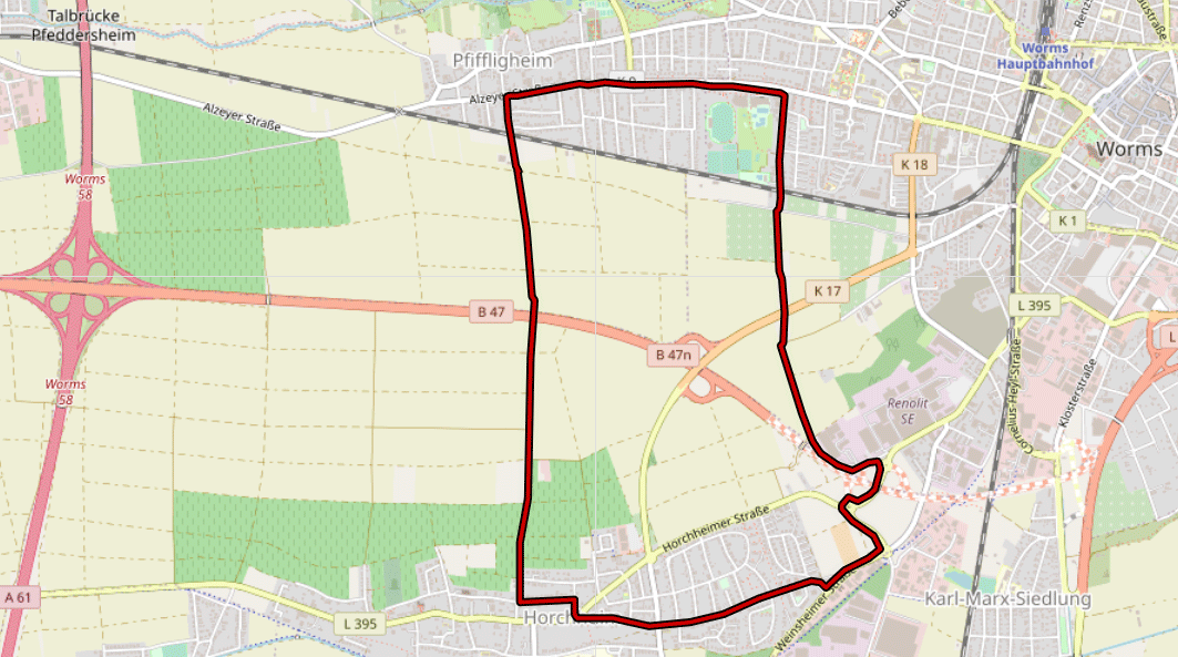 Inliner Track Horchheim - Worms - Pfiffigheim - Horchheim