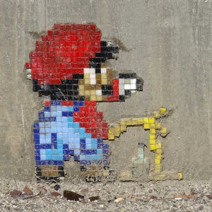 Super Mario PixelArt Hauptbahnhof Worms