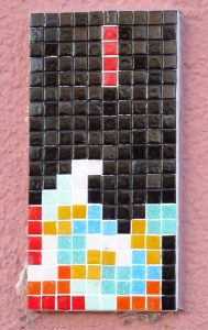 Pixel-Graffito am Willy-Brandt-Ring Worms